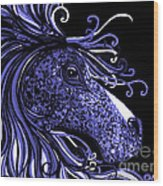 Horse Head Blues Wood Print