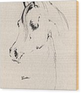 Horse Head Sketch Wood Print