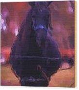 Horse In Autumn Light Wood Print