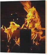 Horse In The Fire Wood Print