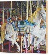 Horse On Carousel Wood Print
