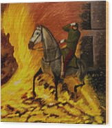 Horse On The Fire Wood Print
