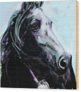 Horse Painted Black Wood Print