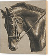 Horse Painting - Focus In Sepia Wood Print