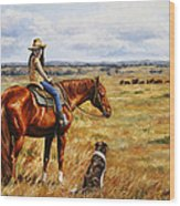 Horse Painting - Waiting For Dad Wood Print by Crista Forest