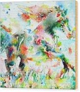 Horse Painting.36 Wood Print