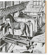 Horse Powered Stall Cleaner, 1880 Wood Print