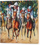 Horse Race - Palette Knife Oil Painting On Canvas By Leonid Afremov Wood Print