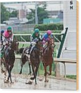 Horse Races At Churchill Downs Wood Print