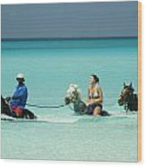 Horse Riders In The Surf Wood Print