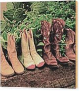 Horse Riding Boots Wood Print