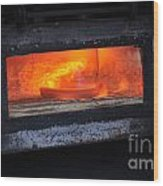Horse Shoes On Fire Wood Print
