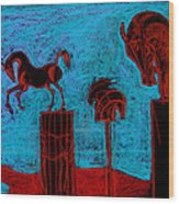 Horse Totems Wood Print