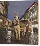 Horse Tram Wood Print