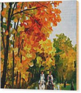 Horseback Stroll - Palette Knife Oil Painting On Canvas By Leonid Afremov Wood Print