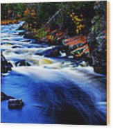 Horserace Rapids In Autumn Wood Print