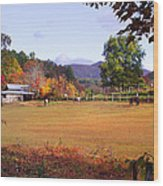Horses And Barn In The Fall 4 Wood Print