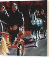 Horses And Carriages Wood Print