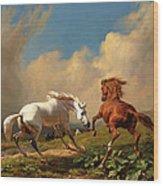 Horses Balking At Approaching Storm Wood Print