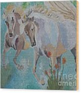 Horses From Camargue 2 Wood Print