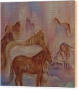 Horses In Heaven Wood Print