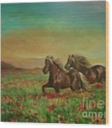 Horses In The Field With Poppies Wood Print