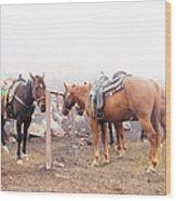 Horses In The Mist - Haleakala Wood Print