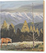 Horses Of The Tetons Wood Print