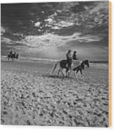 Horses On The Beach Bw Wood Print