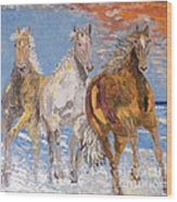 Horses On The Beach Wood Print by Vicky Tarcau