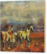 Horses On The Gogh Wood Print