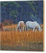 Horses On The March Wood Print