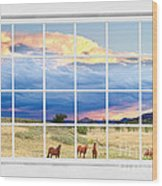 Horses On The Storm Large White Picture Window Frame View Wood Print