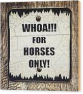 Horses Only Sign Picture Wood Print