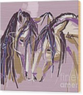 horses Purple pair Wood Print