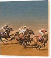 Horses Racing To The Finish Line Wood Print