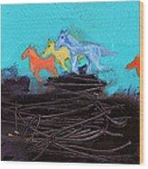 Horses Running On The Pass Wood Print
