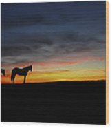 Horses Walking In The Sunset Wood Print