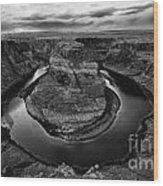 Horseshoe Bend Arizona Monochrome Wood Print