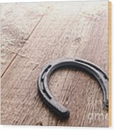 Horseshoe On Wood Floor Wood Print