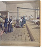 Hospital At Scutari, Detail Of Florence Wood Print by William 'Crimea' Simpson