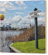 Hot Air Balloon And Old Key West Port Orleans Signage Disney World Wood Print
