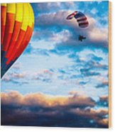 Hot Air Balloon And Powered Parachute Wood Print by Bob Orsillo