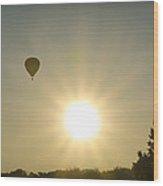 Hot Air Balloon At Sunrise Wood Print
