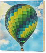 Hot Air Balloon Checkerboard Wood Print