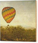 Hot Air Balloon Flight Over The Southwest Desert Fine Art Print  Wood Print