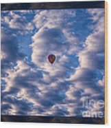 Hot Air Balloon In A Cloudy Sky Abstract Photograph Wood Print