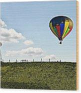 Hot Air Balloon In The Farmlands Wood Print