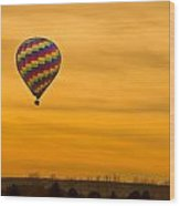 Hot Air Balloon In The Golden Sky Wood Print