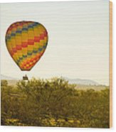 Hot Air Balloon In The Lush Arizona Desert With Saguaro Cactus Wood Print